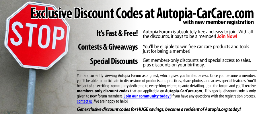 Autopia.org- Join Our Community Today. By joining our free community you will have access to post topics, communicate privately with other members (PM), respond to polls, Free Product Giveaways, upload content, your choice of 10% Off autopia-carcare.com or Free Shipping, access to manufacturer representatives , and access many other special features. Registration is fast, simple and absolutely free so please